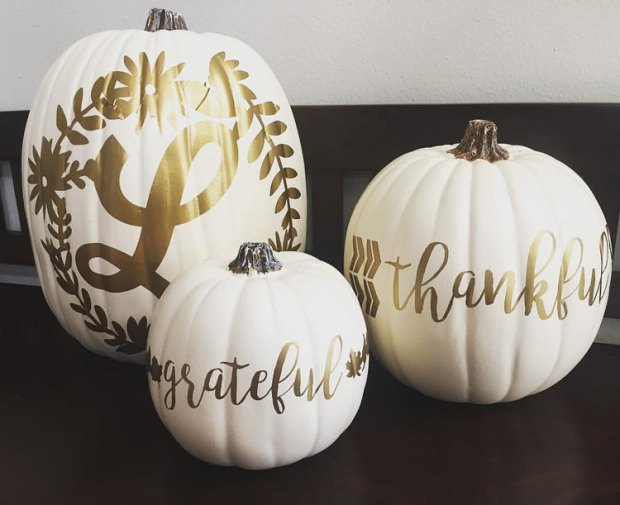 Fall finds - white pumpkins with gold metallic letters - grateful - thankful - monogram