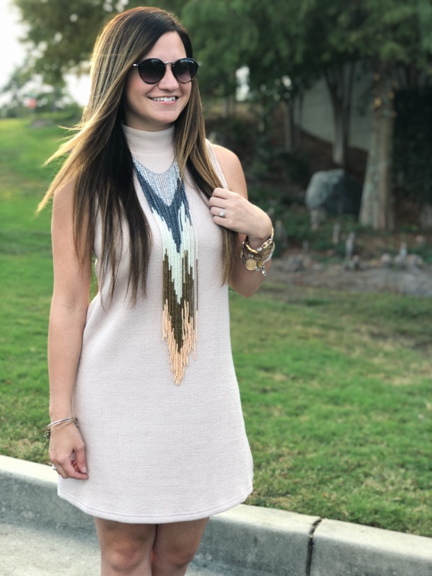fall-outfit-recap-sweater-dress-statement-necklace-sunglasses