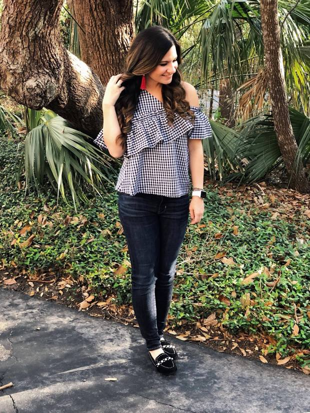 college-game-day-style-gingham-tassel-earrings-loafers