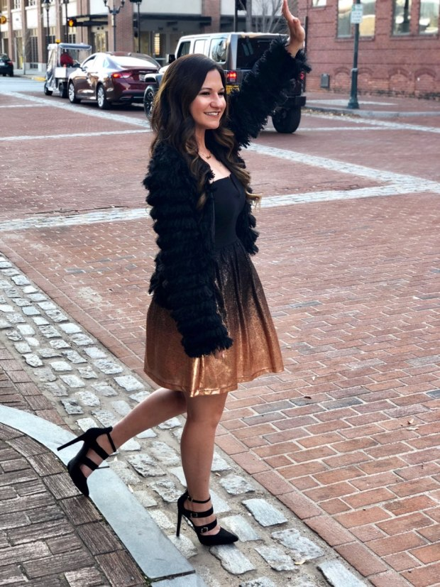new-years-eve-outfit-ideas-gold-black-fit-and-flare-dress-nye-furry-jacket