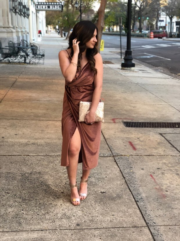 new-years-eve-outfit-ideas-velvet-camel-wrap-dress-nye-shoes
